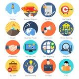 Sistema de iconos coloridos en el diseño plano moderno para el negocio Fotografía de archivo