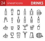 Sistema de iconos con la bebida y de bebidas para la barra Imágenes de archivo libres de regalías
