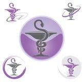 Sistema de iconos con la púrpura del símbolo del caduceo - salud/farmacia Fotografía de archivo libre de regalías