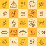 Sistema de iconos de diferentes tipos de comida Imagen de archivo