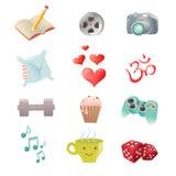 Sistema de iconos de la afición que muestran actividades del pasatiempo Fotografía de archivo libre de regalías