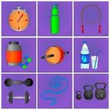 Sistema de iconos de la aptitud Fotografía de archivo