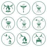 Sistema de iconos de la barbacoa Fotos de archivo libres de regalías