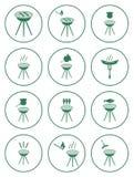 Sistema de iconos de la barbacoa Imagen de archivo libre de regalías