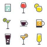 Sistema de iconos de la bebida Imagen de archivo