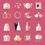 Sistema de iconos de la boda en estilo plano Fotografía de archivo libre de regalías