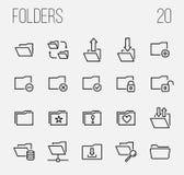 Sistema de iconos de la carpeta en la línea estilo fina moderna Imagen de archivo libre de regalías