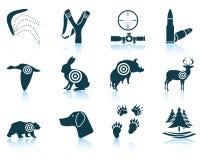 Sistema de iconos de la caza Fotografía de archivo