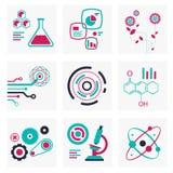 Sistema de iconos de la ciencia y de la tecnología Imagen de archivo