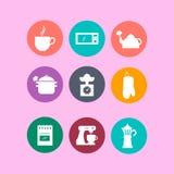 Sistema de iconos de la cocina en diseño plano Iconos redondos Imagen de archivo