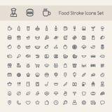 Sistema de iconos de la comida del movimiento Foto de archivo libre de regalías