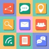 Sistema de iconos de la comunicación Diseño plano colorido Fotos de archivo libres de regalías