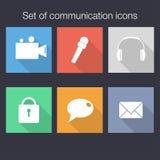 Sistema de iconos de la comunicación en estilo plano con las sombras ilustración del vector