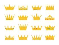 Sistema de iconos de la corona del oro imágenes de archivo libres de regalías