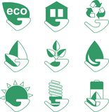 Sistema de iconos de la ecología con la mano Fotos de archivo