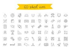 Sistema de 60 iconos de la escuela Foto de archivo libre de regalías