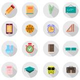 Sistema de iconos de la escuela del vector Imágenes de archivo libres de regalías