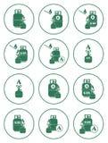 Sistema de iconos de la estufa que acampa y de la botella de gas Fotos de archivo libres de regalías