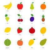Sistema de iconos de la fruta del color y de iconos de la baya Imágenes de archivo libres de regalías