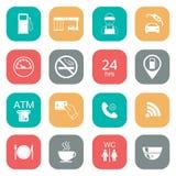 Sistema de iconos de la gasolinera Iconos del glyph del combustible color plano Vector Imágenes de archivo libres de regalías