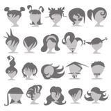 Sistema de iconos de la gente de diversos peinados de moda Fotografía de archivo libre de regalías