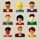 Sistema de iconos de la gente en diseño plano Fotos de archivo libres de regalías