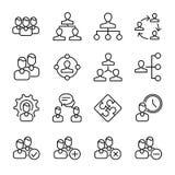 Sistema de iconos de la gestión de negocio en la línea estilo fina moderna Fotos de archivo libres de regalías