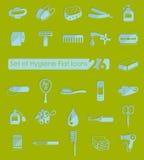 Sistema de iconos de la higiene Foto de archivo libre de regalías