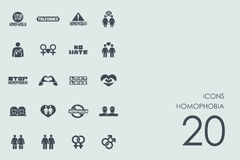 Sistema de iconos de la homofobia stock de ilustración