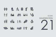 Sistema de iconos de la inmigración ilustración del vector