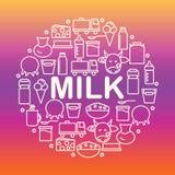 Sistema de iconos de la lechería Bandera redonda con los iconos de la leche y de los productos lácteos en un fondo coloreado stock de ilustración