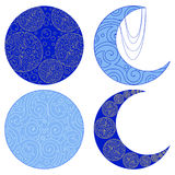 Sistema de iconos de la luna aislados en el fondo blanco Amuleto étnico Fotografía de archivo libre de regalías