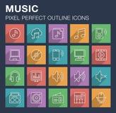 Sistema de iconos de la música con la sombra larga Imágenes de archivo libres de regalías