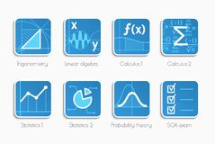Sistema de iconos de la matemáticas Imágenes de archivo libres de regalías