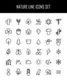 Sistema de iconos de la naturaleza en la línea estilo fina moderna Imagen de archivo libre de regalías
