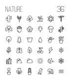 Sistema de iconos de la naturaleza en la línea estilo fina moderna ilustración del vector