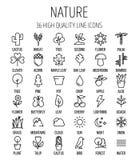 Sistema de iconos de la naturaleza en la línea estilo fina moderna libre illustration