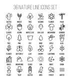 Sistema de iconos de la naturaleza en la línea estilo fina moderna stock de ilustración