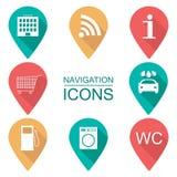 Sistema de iconos de la navegación Diseño plano Alcance de servicios Fotografía de archivo