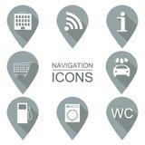 Sistema de iconos de la navegación Diseño plano Industrias de servicios Fotografía de archivo