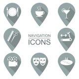 Sistema de iconos de la navegación Diseño plano instituciones públicas Foto de archivo libre de regalías