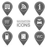 Sistema de iconos de la navegación Iconos de la silueta Alcance de servicios Foto de archivo