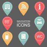 Sistema de iconos de la navegación Iconos resumidos instituciones públicas Fotografía de archivo