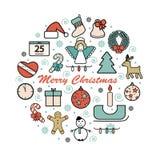 Sistema de iconos de la Navidad Fotografía de archivo libre de regalías