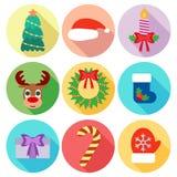 Sistema de iconos de la Navidad Diseño plano Imagen de archivo