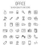 Sistema de iconos de la oficina en la línea estilo fina moderna Imágenes de archivo libres de regalías