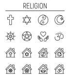 Sistema de iconos de la religión en la línea estilo fina moderna stock de ilustración