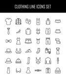 Sistema de iconos de la ropa en la línea estilo fina moderna stock de ilustración
