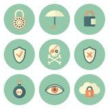 Sistema de iconos de la seguridad del círculo Imagen de archivo
