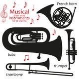 Sistema de iconos de la silueta Instrumentoes de viento de cobre amarillo musicales para la orquesta Ilustración del vector Imagen de archivo libre de regalías